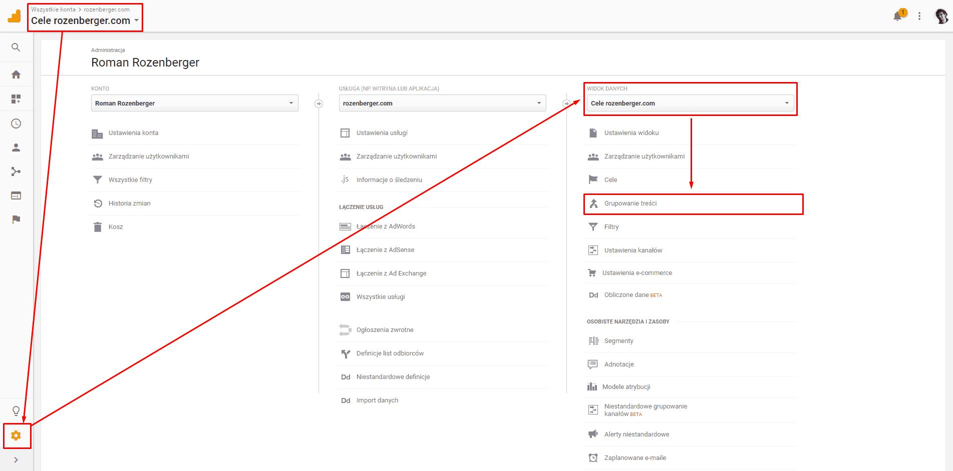 Grupowanie treści w widoku danych Google Analytics