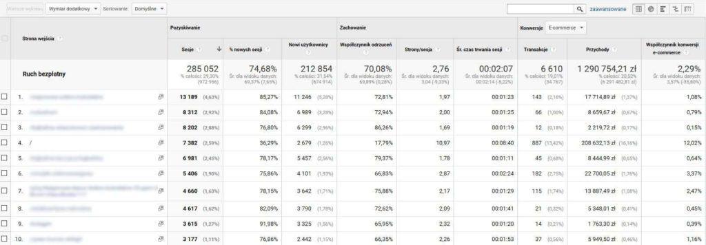 Strony wejścia i sprzedaż z SEO w Google Analytics