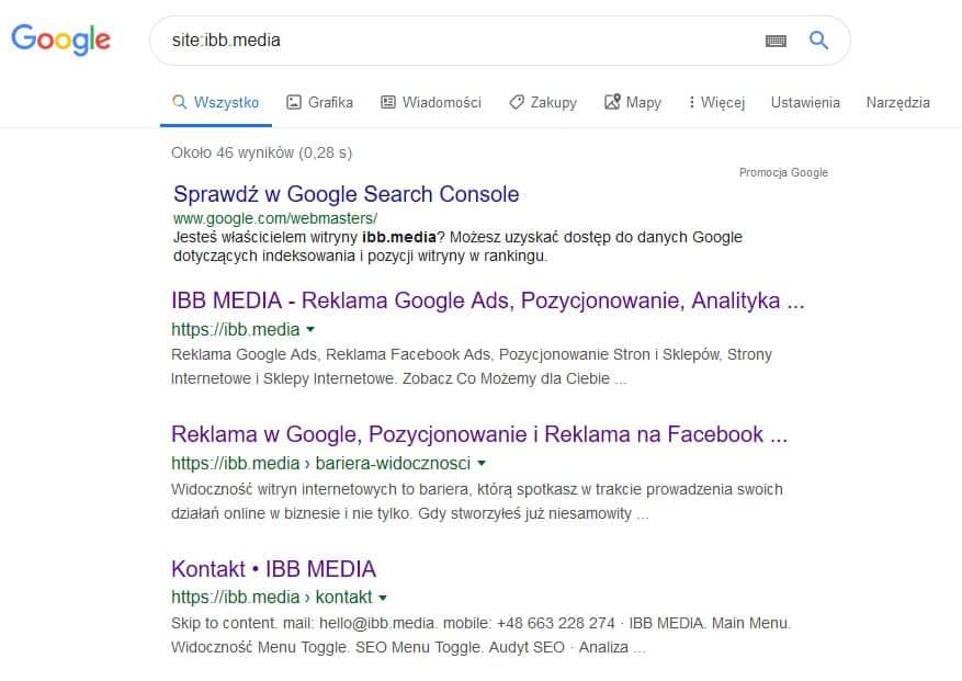 Wynik zapytania z operatorem site w Google