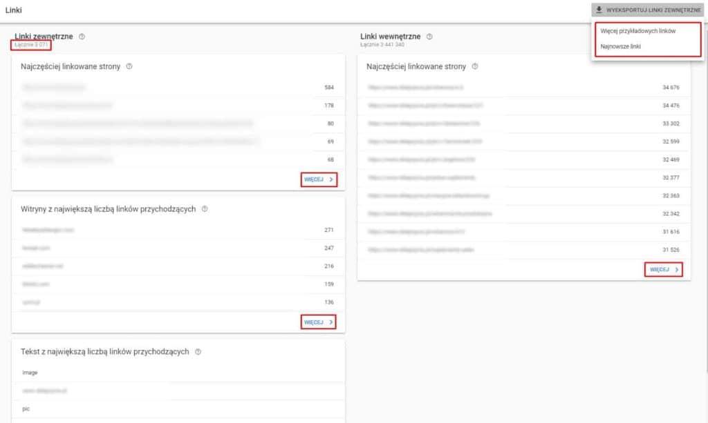 Raport linków zewnętrznych w Google Search Console
