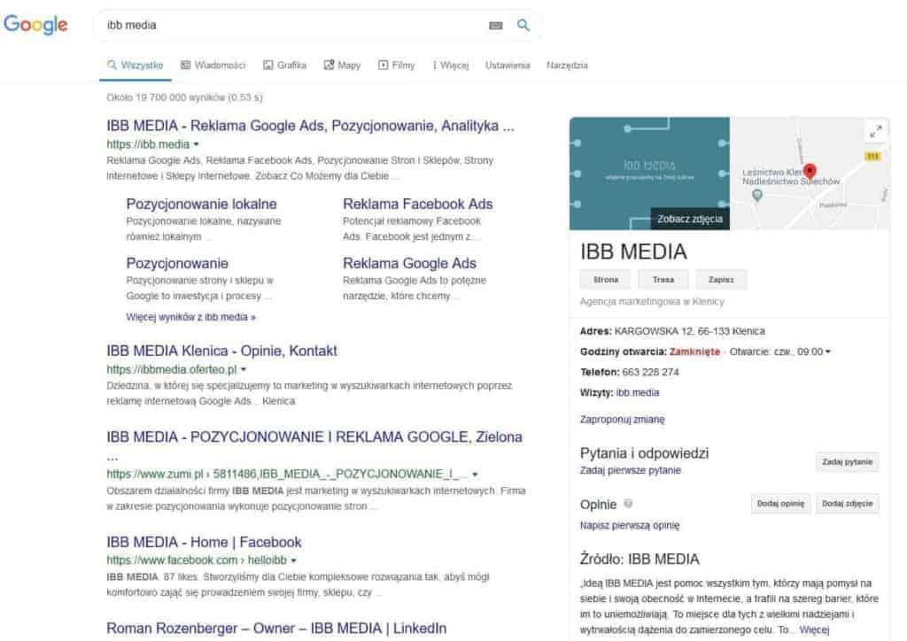 Wyniki wyszukiwania nazwy firmy