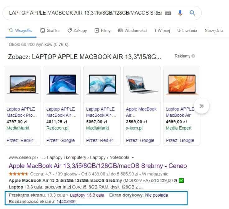 Wynik wyszukiwania Macbook w Ceneo i linki wewnętrzne w SERP