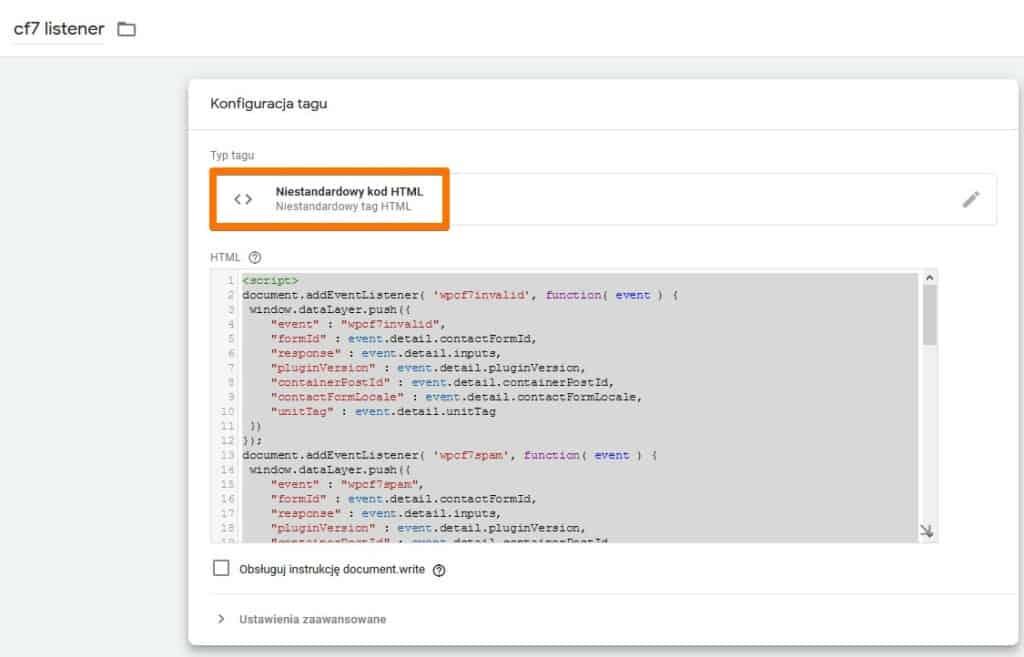Odbiornik CF7 jako niestandardowy kod HTML w GTM