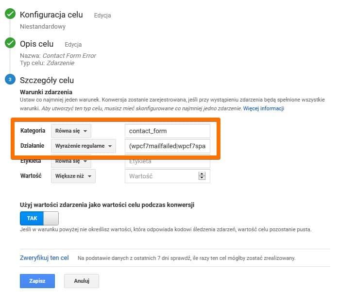 Konfiguracja błędu formularza jako cel w Google Analytics (Universal)