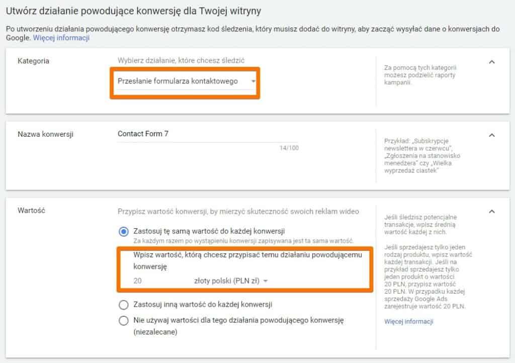 Konfiguracja konwersji przesłania formularza w Google Ads - krok 1