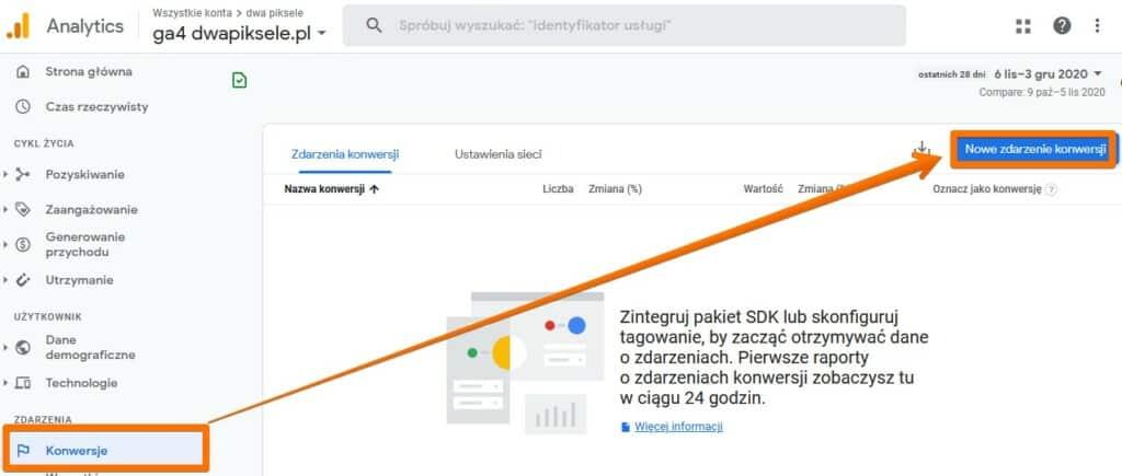 Tworzenie zdarzenia konwersji w Google Analytics 4