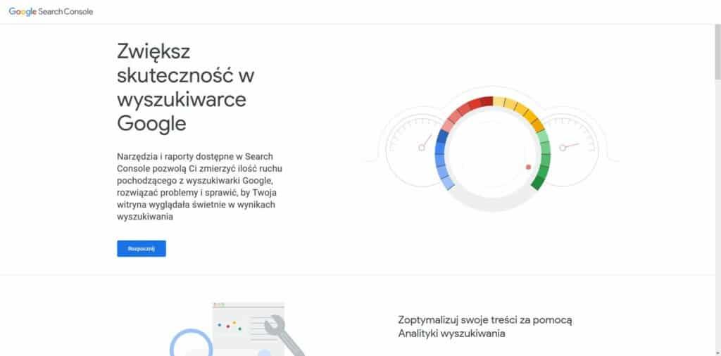 Dodawanie strony do Google Search Console - ekran główny