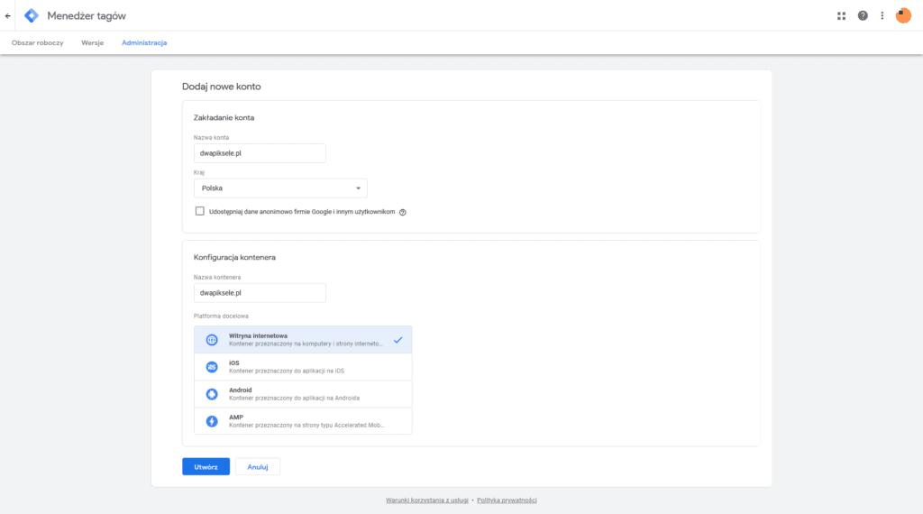 Tworzenie konta i kontenera w Tag Manager