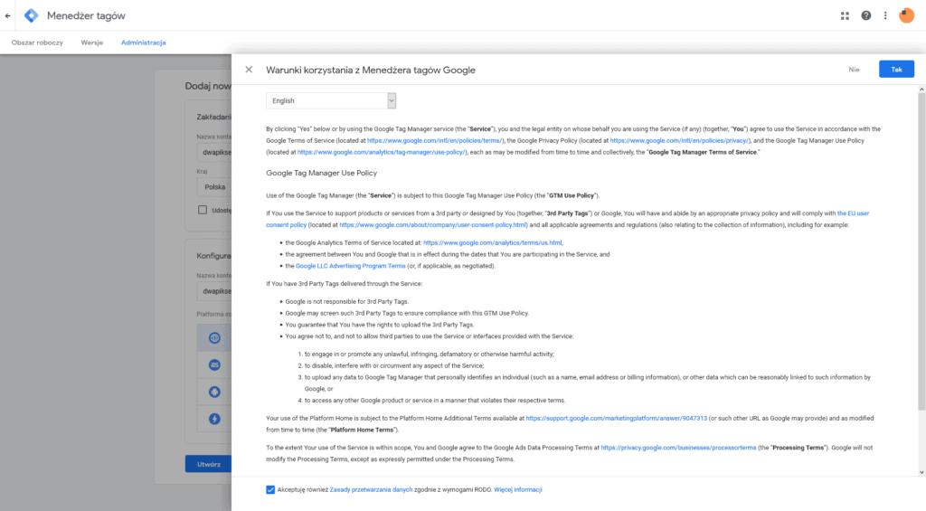 Warunki korzystania z Menadżera tagów Google