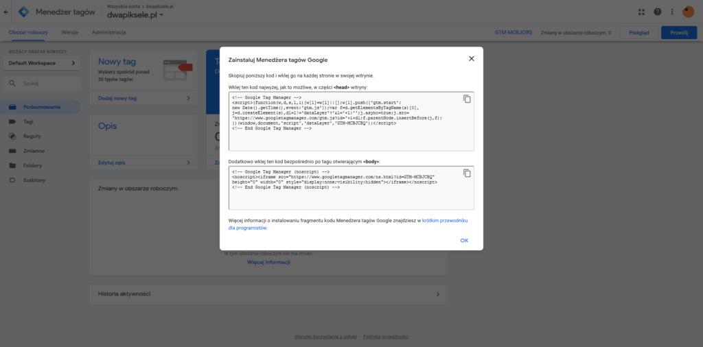 Kod Google Tag Manager