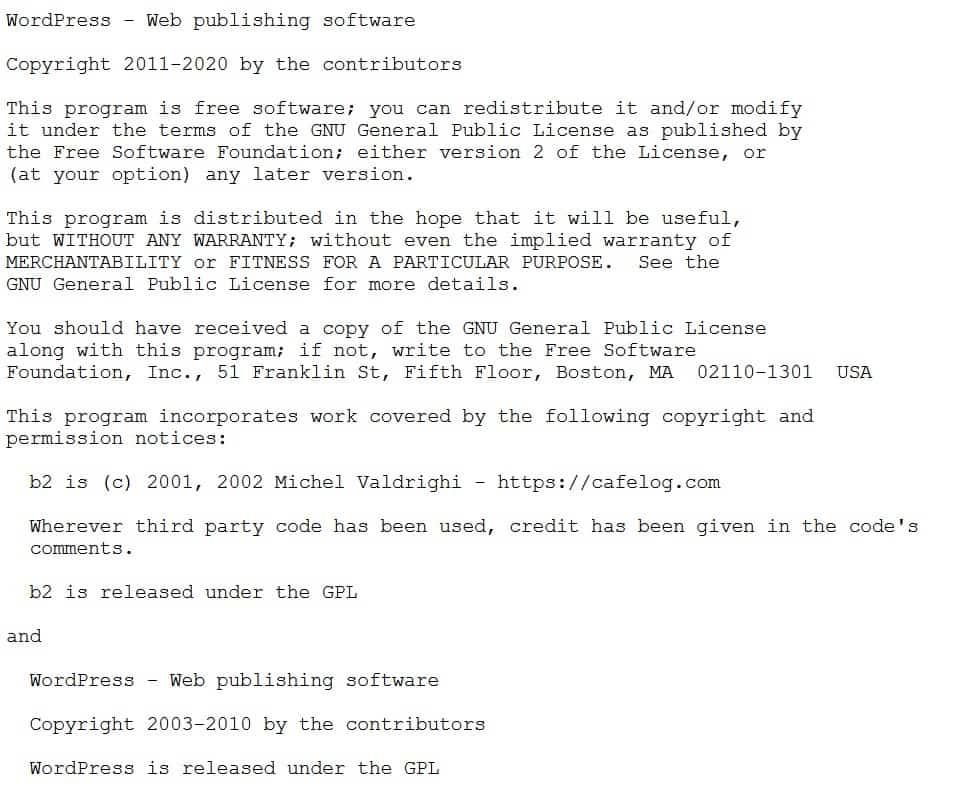 Fragment pliku license.txt w WordPress
