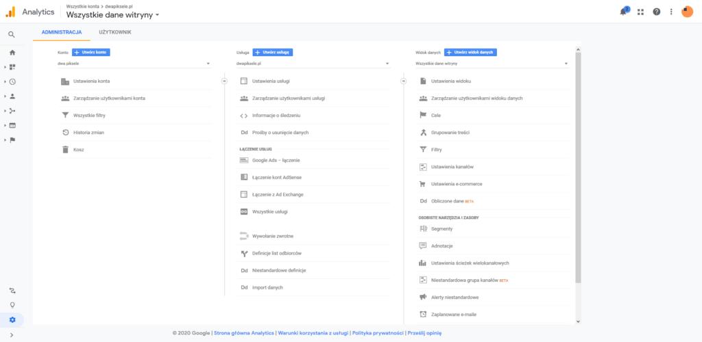 Widok ustawień Google Analytics