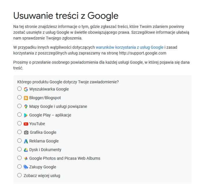 usuwanie treści z Google formularz 1