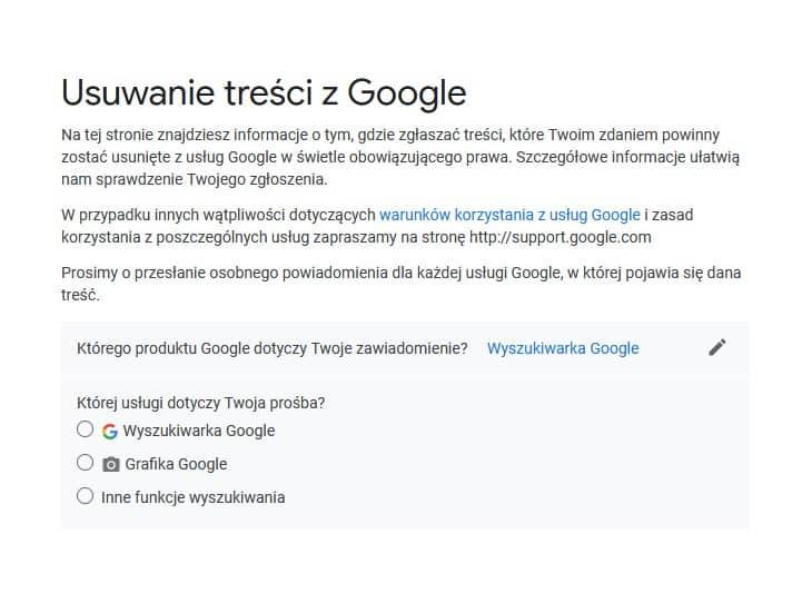 Zgłoszenie praw autorskich do treści w Google