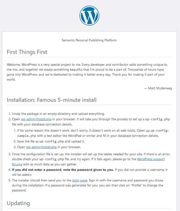 Treść pliku readme WordPress