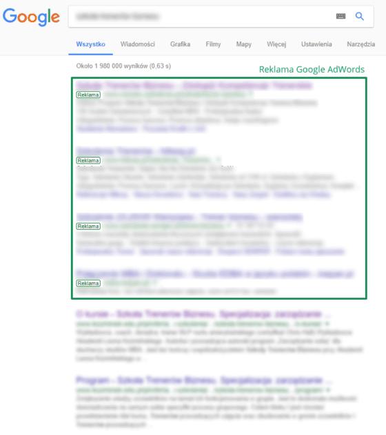 Wygląd reklamy Google AdWords