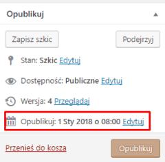 Wybór daty publikacji wpisu